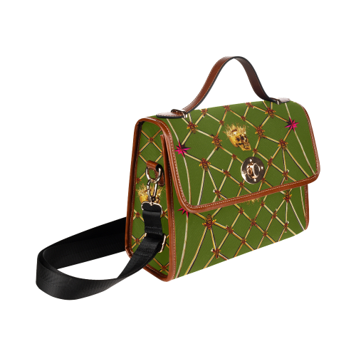 Skull Honeycomb- Mini Brief Handbag in Deep Bold Olive | Le Leanian™ | The Photographist™