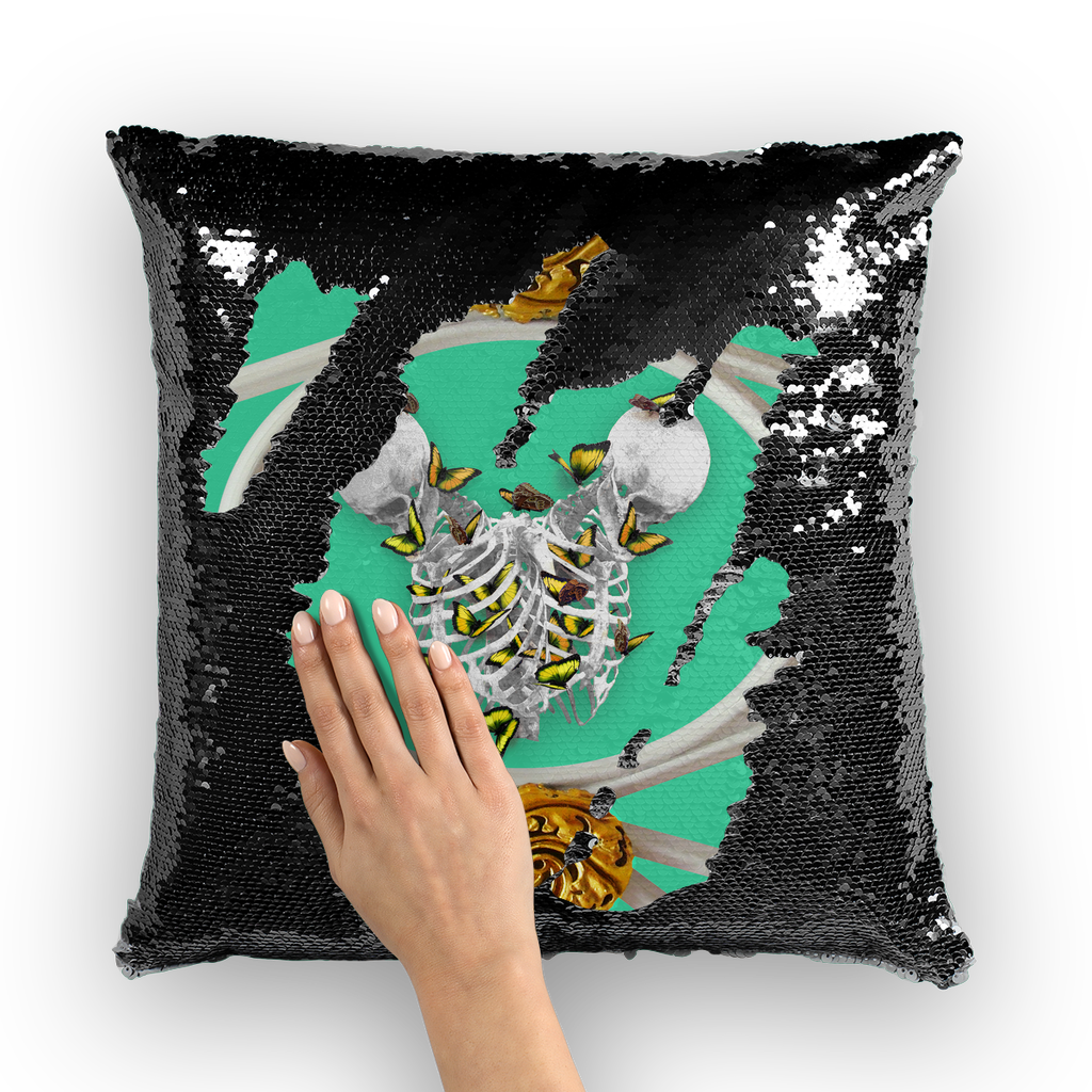 Versailles Gilded Skull Divergence Golden Whispers- French Gothic Sequin Pillowcase or Throw Pillow in Bold Jade Teal | Le Leanian™