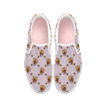 Golden Bees & Skulls- Women's French Gothic Slip-On Sneakers in Nouveau Blush Taupe | Le Leanian™