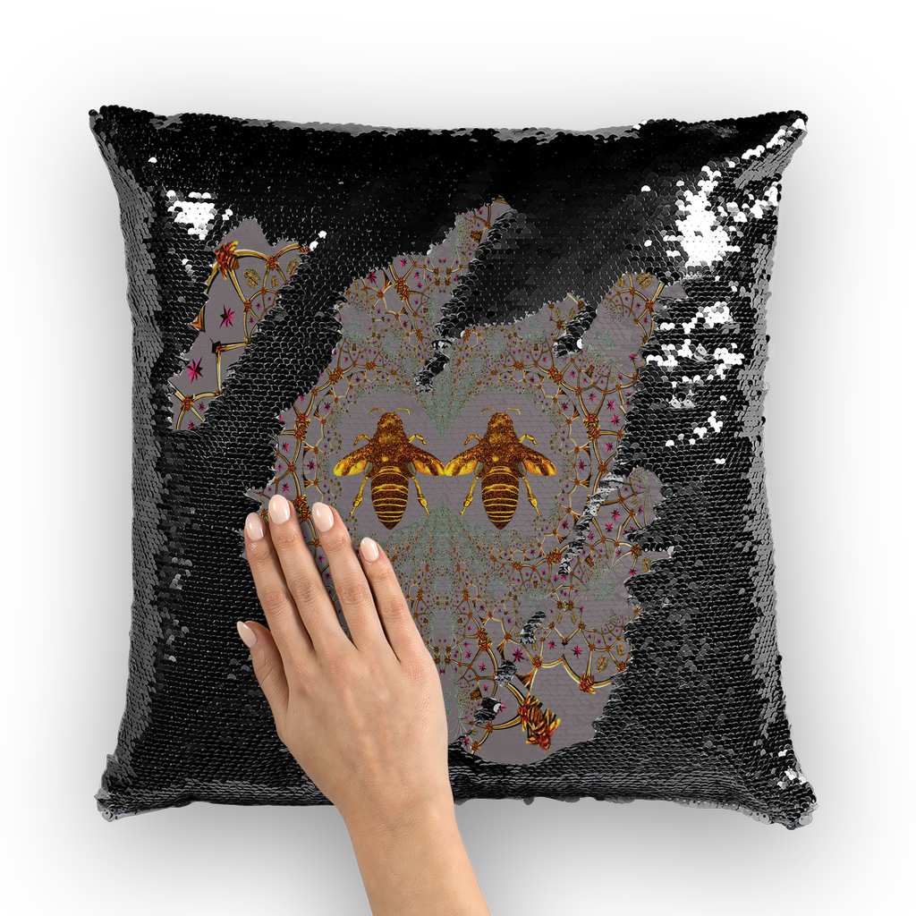 Baroque Honey Bee Extinction- French Gothic Sequin Pillowcase or Throw Pillow in Lavender Steel | Le Leanian™