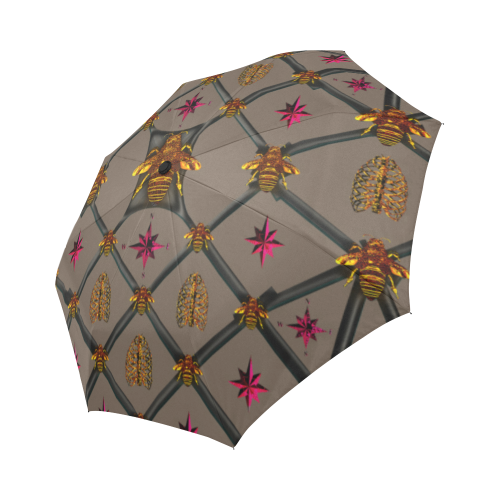 Bee Divergent Dark Ribs & Magenta Stars- Semi & Auto Foldable French Gothic Umbrella in Cocoa Clay | Le Leanian™