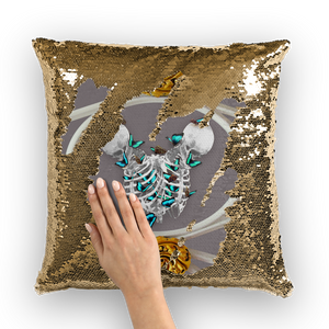 Versailles Gilded Skull Divergence Teal Whispers- French Gothic Sequin Pillowcase or Throw Pillow in Lavender Steel | Le Leanian™