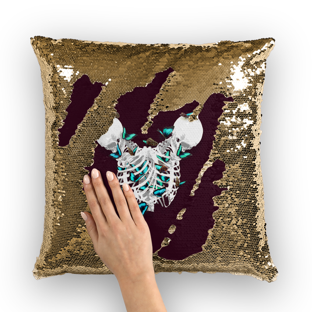 Siamese Skeletons with Gold Butterflies coming out The Rib cage-Gold Sequin Pillowcase-Eggplant Wine Red