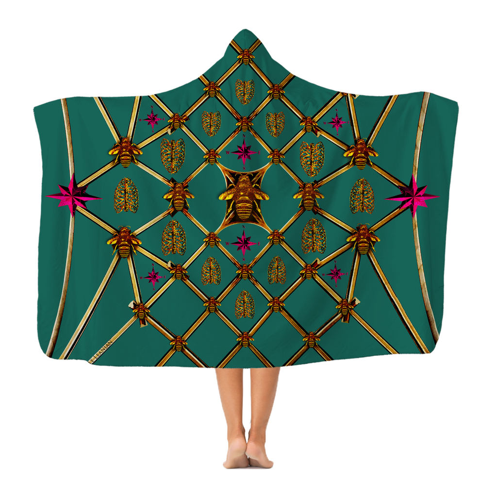 Bee Divergence Gilded Ribs & Magenta Stars- in Jade Classic French Gothic Adult Hooded Fleece Blanket | Le Leanian™