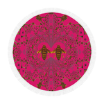 Baroque Honey Bee Extinction- Circular French Gothic Medallion Throw in Bold Fuchsia | Le Leanian™