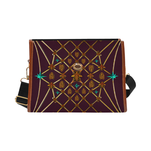 Gilded Bees & Ribs- Classic French Gothic Mini Brief Handbag in Eggplant Wine | Le Leanian™