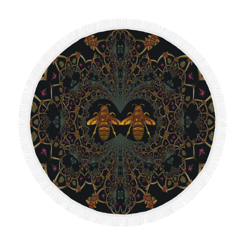 Baroque Honey Bee Circular Beach Throw- Back to Black