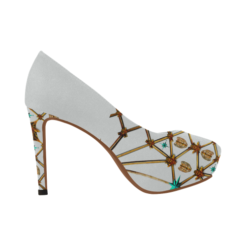 Gilded Ribs & Hive- Women's French Gothic Heels in Lightest Gray | Le Leanian™