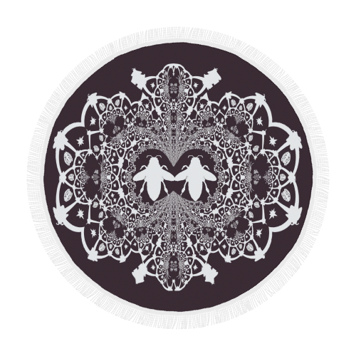 Baroque Hive Relief- Circular French Gothic Medallion Throw in Muted Eggplant Wine | Le Leanian™