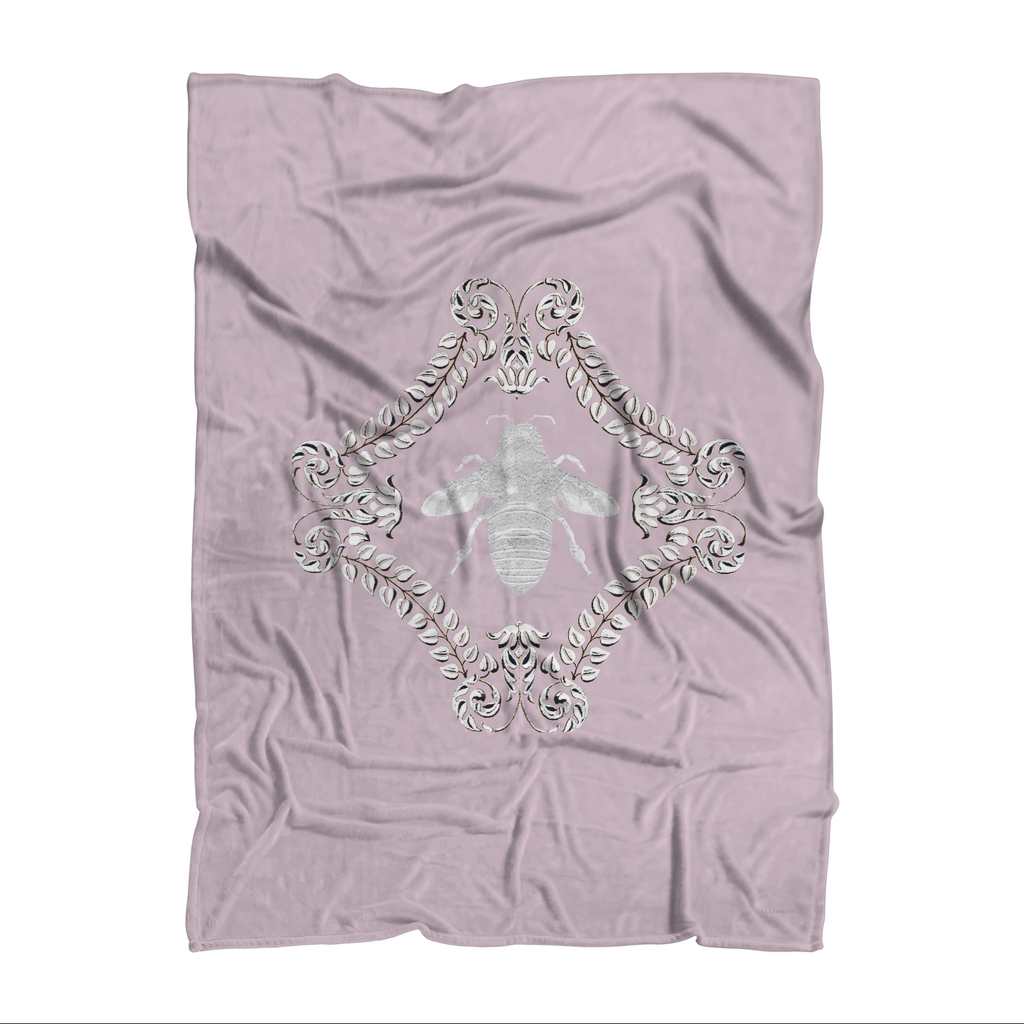 Queen Bee- Polar Fleece- Classic Blanket in Colors Blush Taupe, Light Pink and White