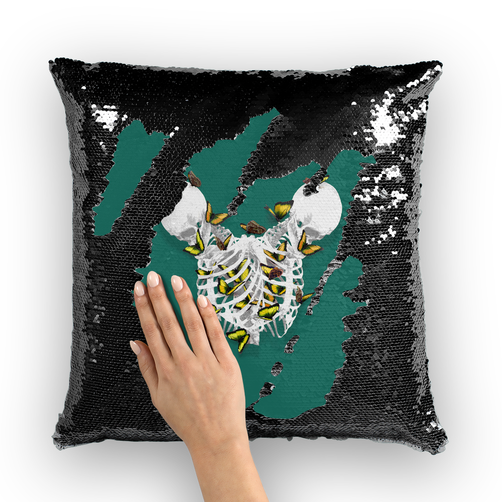 Versailles Divergence Golden Duality- French Gothic Sequin Pillowcase or Throw Pillow in Jade | Le Leanian™