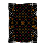 FLEECE BLANKET-BEES, RIBS, STAR PATTERN-Color BLACK