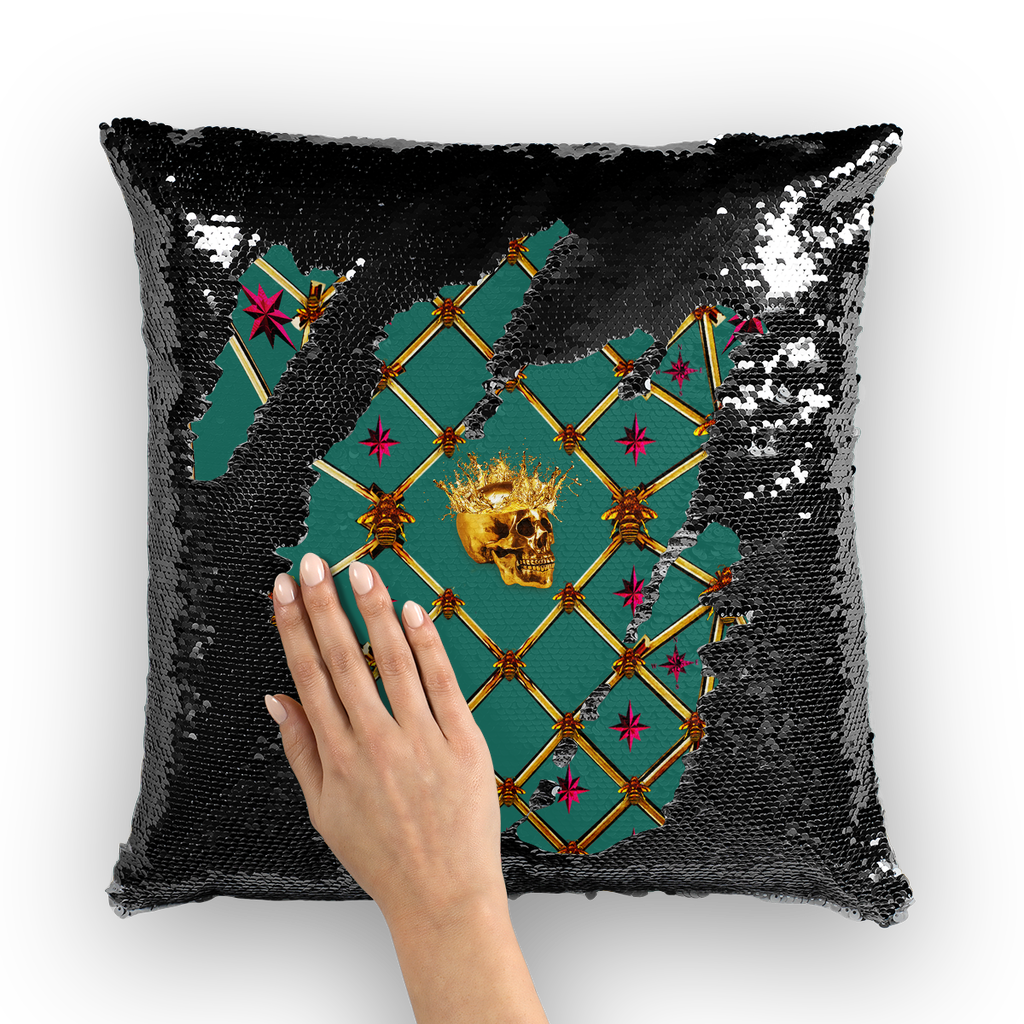 Golden Skull & Magenta Stars- French Gothic Sequin Pillowcase or Throw Pillow in Jade | Le Leanian™