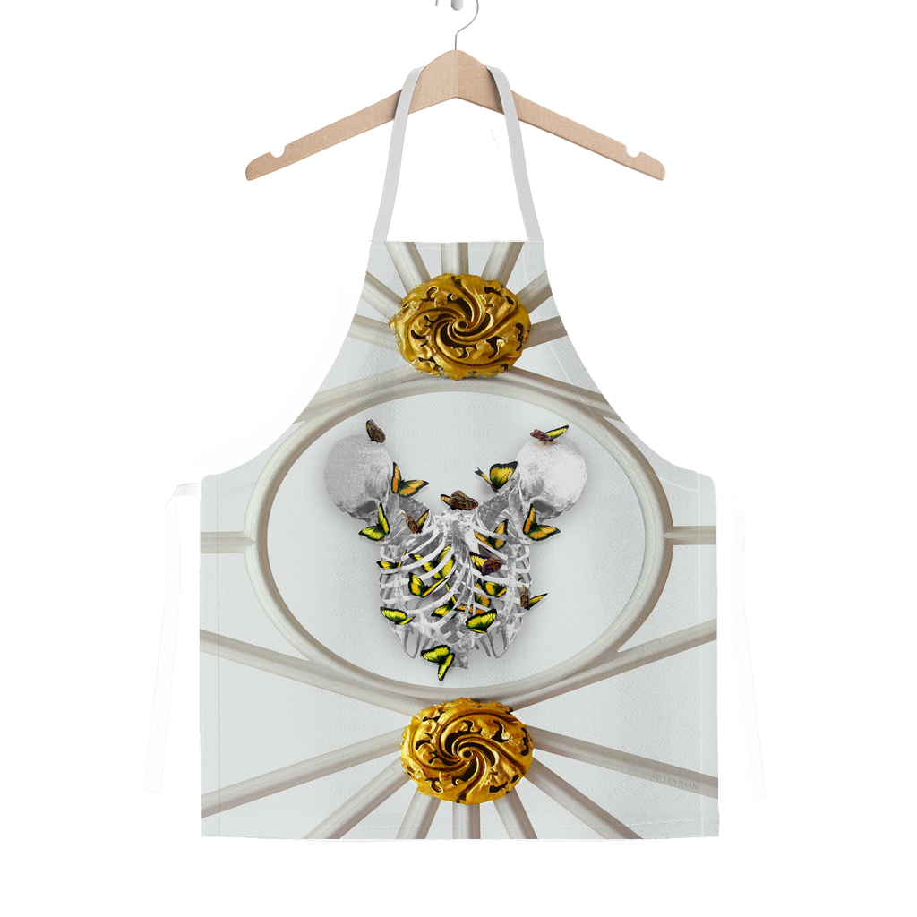 Versailles Gilded Skull Divergence Golden Whispers- Classic French Gothic Apron in Lightest Gray | Le Leanian™
