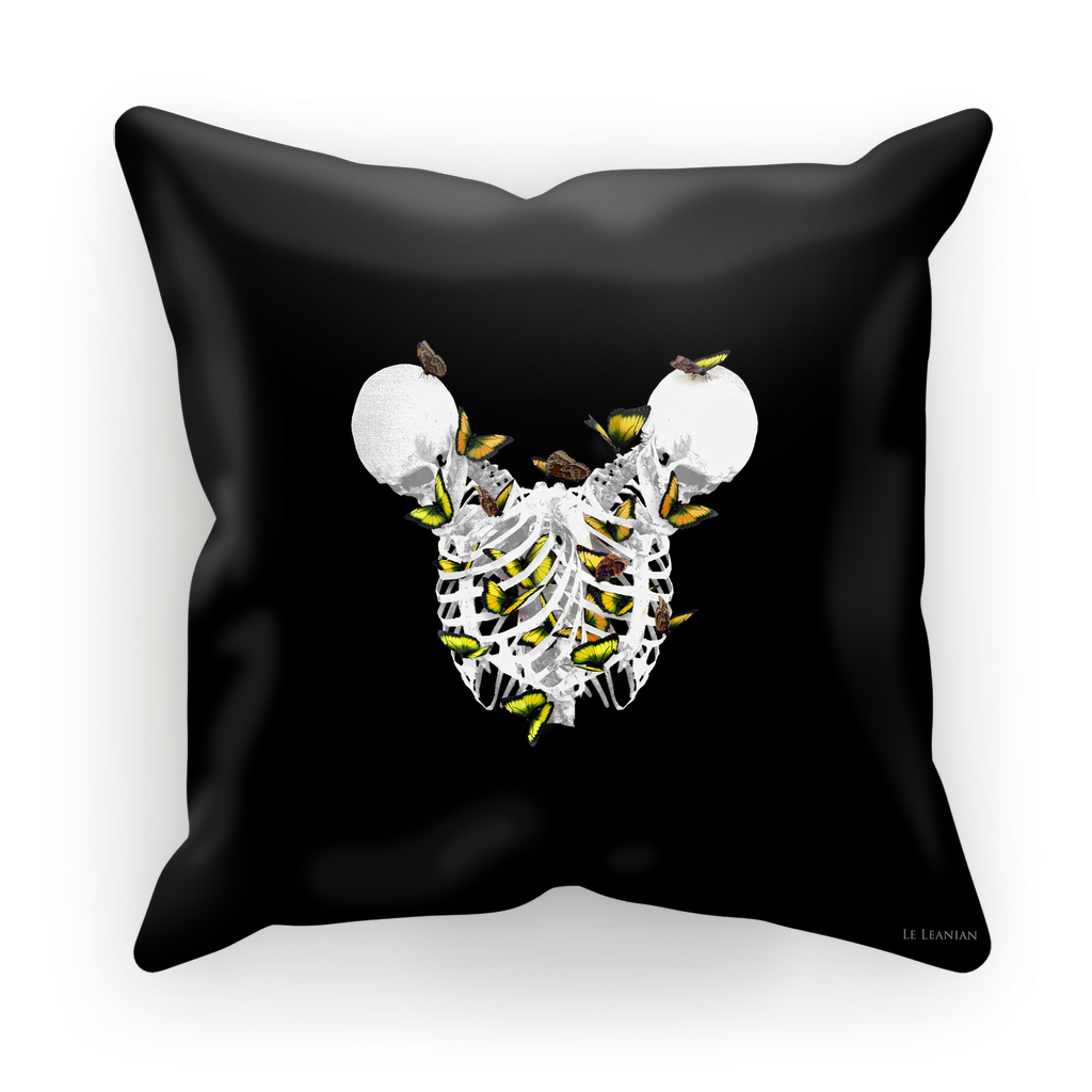 Versailles Divergence Golden Skull Duality- French Gothic Satin & Suede Pillowcase in Back to Black | Le Leanian™