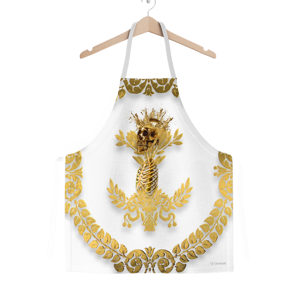 GOLD SKULL & GOLD WREATH-Classic APRON in Color LIGHT GRAY