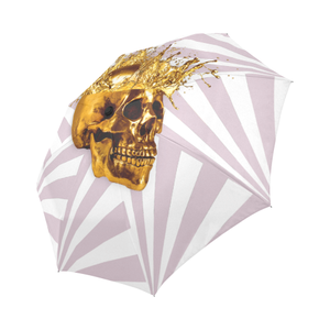 Cirque-Circus UMBRELLA-Geometric Stripes and Gold Skull-Color PASTEL PINK