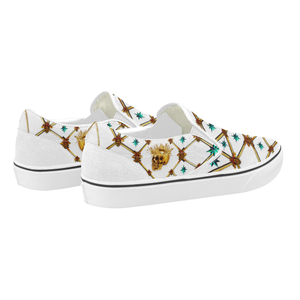 Skull & Teal Stars- Women's French Gothic Slip-On Sneakers in White | Le Leanian™