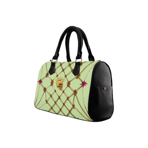 Skull & Honeycomb- French Gothic Boston Handbag in Peacock Ring Green | Le Leanian™