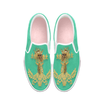 Caesar Skull Relief- Women's French Gothic Slip-On Sneakers in Bold Jade Teal | Le Leanian™
