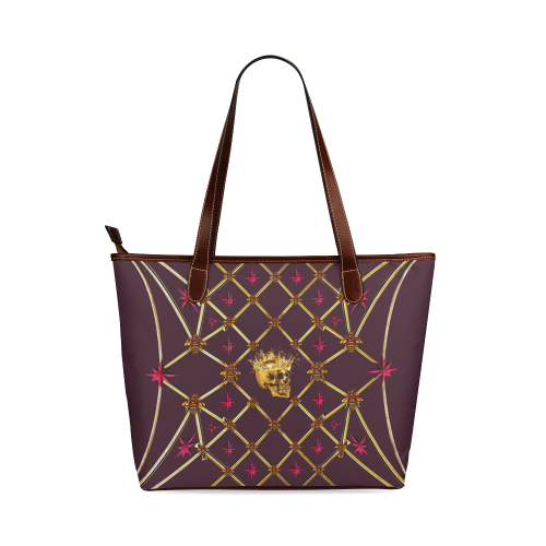 Skull & Magenta Stars- Classic French Gothic Tote Bag in Eggplant Wine | Le Leanian™