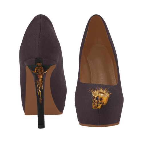 Dripping in Gold Skull & Cross- Women's French Gothic Heels in Muted Eggplant Wine | Le Leanian™