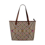 Bee Divergence Dark Ribs & Magenta Stars- Classic French Gothic Tote Bag in Neutral Camel | Le Leanian™