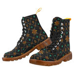 Women's Marten Style Military Boot- BEE RIBS STAR Pattern-Color BLACK