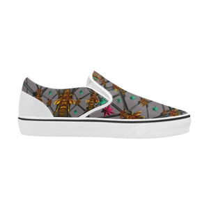 Bee Divergent Abstract- Women's French Gothic Slip-On Sneakers in Lavender Steel | Le Leanian™