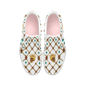Gold Skull and Teal stars-Honey Bee- Classic Slip-On Sneakers-Vans- in Color White