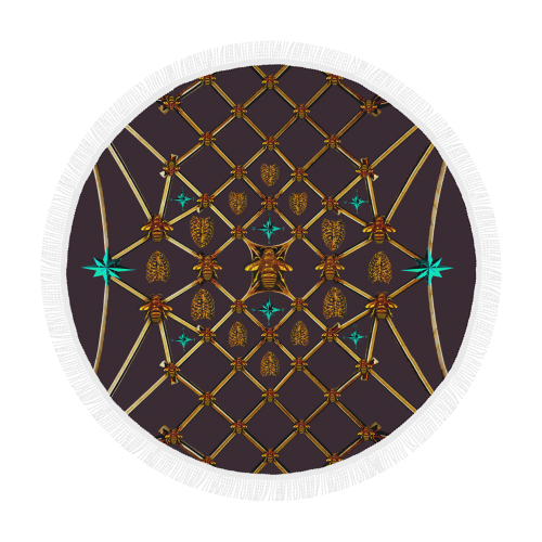 Bee Divergence Ribs & Teal Stars- Circular French Gothic Medallion Beach Throw in Muted Eggplant Wine | Le Leanian™