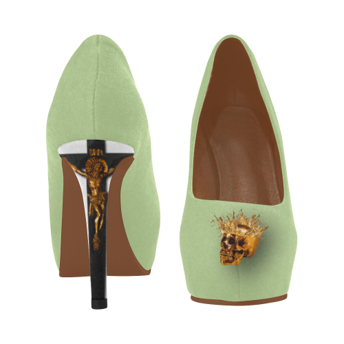 Women's Crucifix and Skull High Heel Shoes- in Color Pale, Pastel GREEN