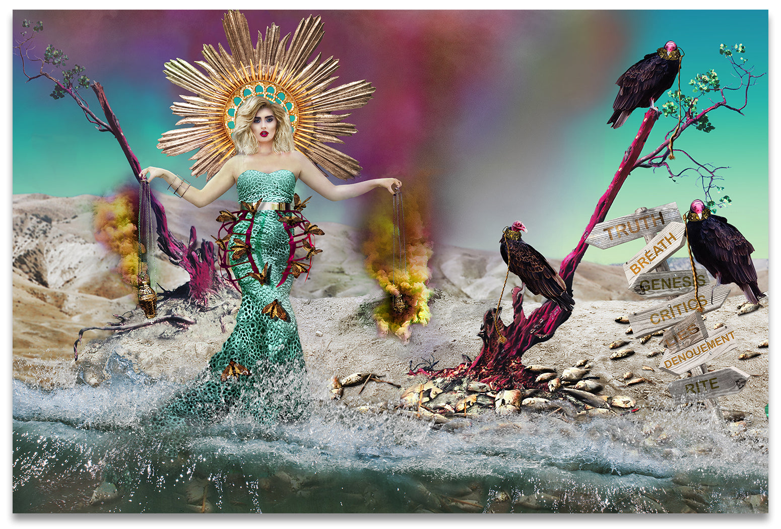 Book of Revelation Inspired Mother Mary, Madonna on Dead Beach surrounded by Vultures and Dead Fish.