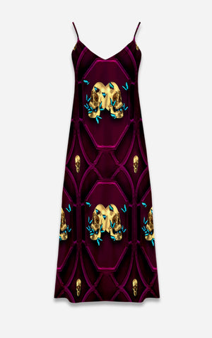 All Saints Breath- French Gothic V Neck Slip Dress in Bold Eggplant Wine | Le Leanian™