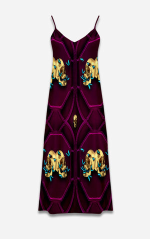 All Saints Double Nouveau- French Gothic V Neck Slip Dress in Bold Eggplant Wine | Le Leanian™