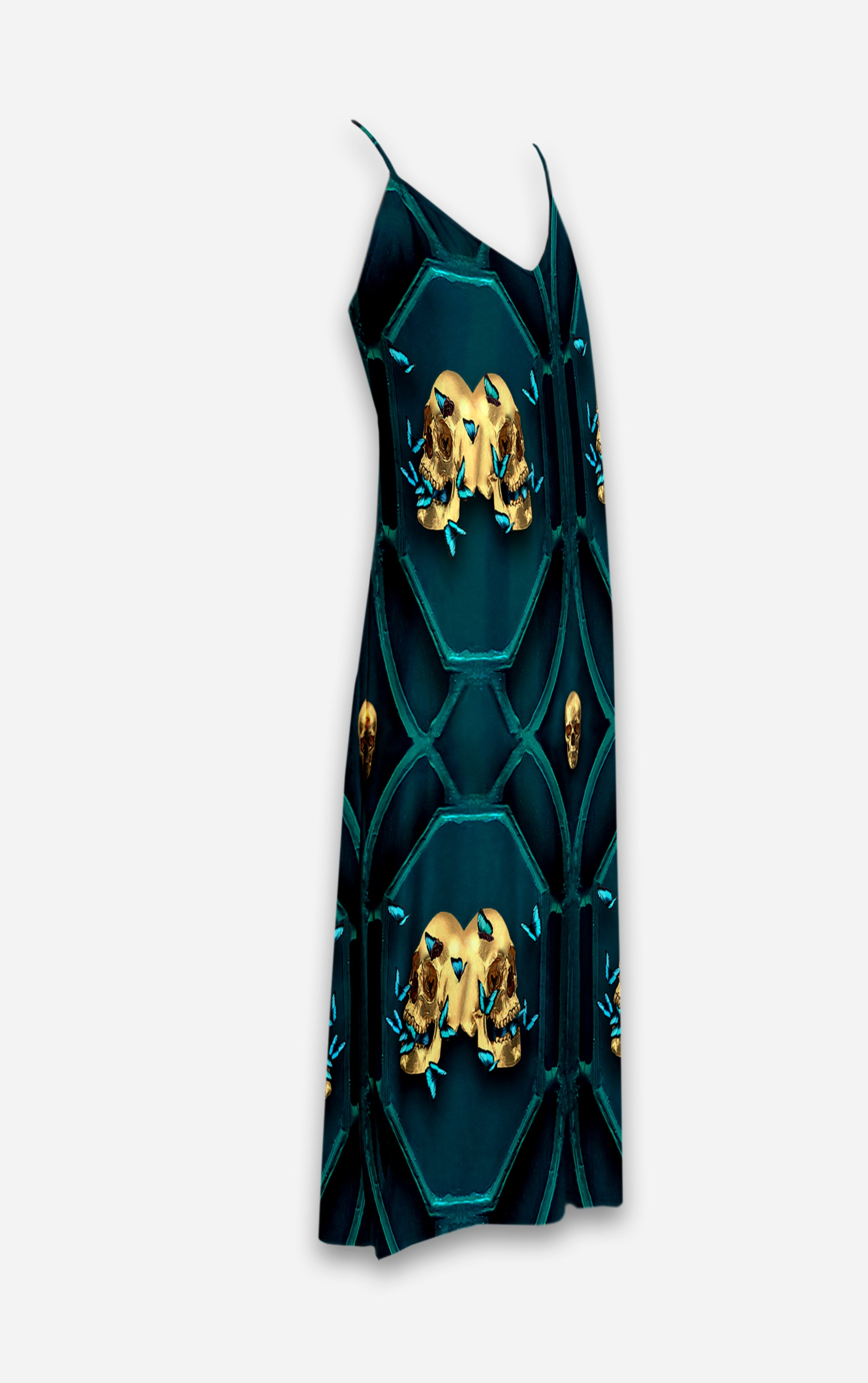 All Saints Double Nouveau- French Gothic V Neck Slip Dress in Midnight Teal | Le Leanian™