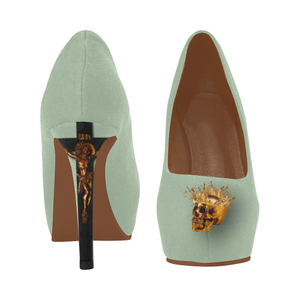 Dripping in Gold Skull & Cross- Women's French Gothic Heels in Pastel | Le Leanian™