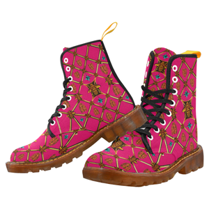 Women's Gilded Honey Bee and Ribs Pattern- Military Marten Style Lace-Up Boots- in Color Bold Fuchsia, Bright Pink, Pink