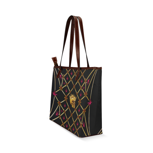 Skull & Honeycomb Magenta Stars- Classic French Gothic Tote Bag in Back to Black | Le Leanian™