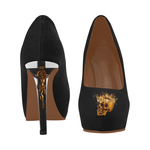 Black Womens High Heels with Gold Skull on Toes and Crucifix on Heel.