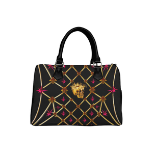 Skull & Stars- French Gothic Boston Handbag in Back to Black | Le Leanian™