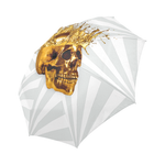 Cirque-Circus UMBRELLA-Geometric Stripes and Gold Skull-Color Lightest GRAY on WHITE