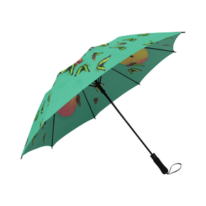 Siamese Skull Morpho-Semi Automatic Foldable French Gothic Umbrella in Bold Pastel Jade | Le Leanian™