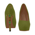 Gold Honey Bee and Jeweled Women's High Heels in Olive Green.