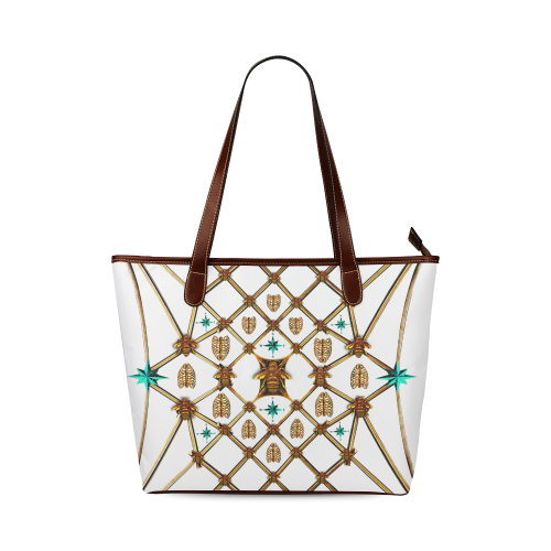 Women's Honey Bee, Ribs, Blue Star Pattern- Shoulder Tote in Color WHITE