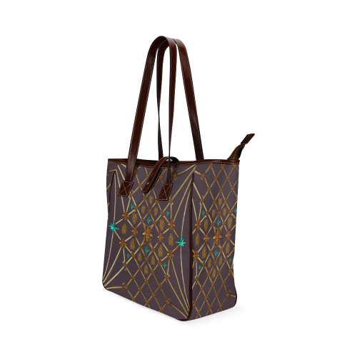 Gilded Bees & Ribs- Classic French Gothic Upscale Tote Bag in Muted Eggplant Wine | Le Leanian™
