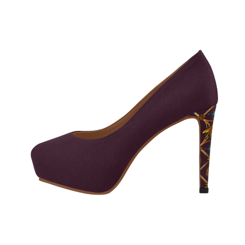 Gilded Bee Hive- Women's French Gothic Heels in Eggplant Wine | Le Leanian™