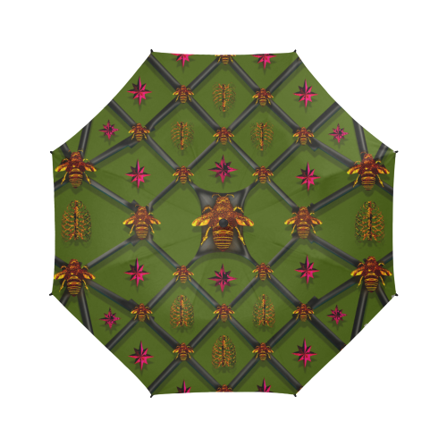 Bee Divergent Ribs & Magenta Stars- Semi Auto Foldable French Gothic Umbrella in Bold Olive | Le Leanian™