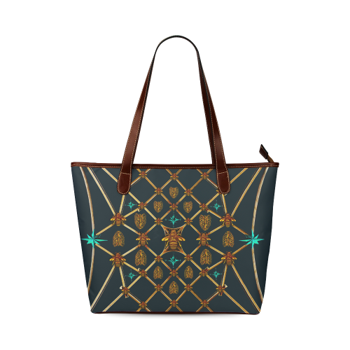 Gilded Bees & Ribs- Classic French Gothic Tote Bag in Midnight Teal | Le Leanian™