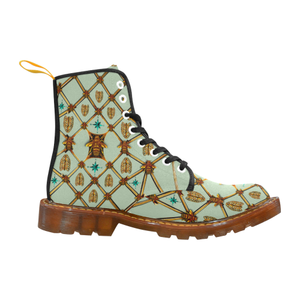 Gilded Bees & Ribs- Women's French Gothic Combat  Boots in Pastel | Le Leanian™